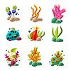 Cartoon Unterwasser-Pflanzen und Tiere