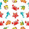 Kinder nahtlose Muster mit Leben im Meer