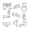 Business Icons Set mit den Händen in linearen Stil
