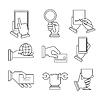 Business Icons mit den Händen in linearen Stil