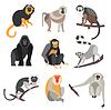 Set von Menschenaffen und Affen