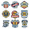Rugby-Emblem Set, flache Bauweise