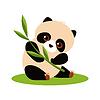 Netter Panda, der Bambus isst.