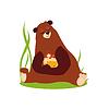 Karikatur-Bären-Hugging Honig. in Flat Style