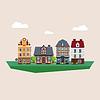 Old Vintage Land und Stadt Häuser