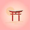 Japanische Pagode im Flat Design
