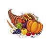 Füllhorn mit Gemüse, Obst, Stielen und