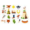 Wild-West-Symbole. Cowboy-Objekte