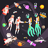 Astronauts Shaking Hands With Extraterrestrial | Stock Vector Graphics