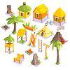 Jungle Tribal Leben Häuser und andere Objekte