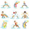 Дети играют на музыкальных инструментах с радугой и | Векторный клипарт