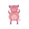Rosa Schwein Stehen auf zwei Beinen