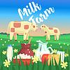 Landschaft mit zwei Kühe und Milcherzeugnisse