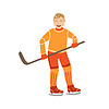Guy spielen Hockey in orange Uniform