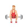Man Doing Gewicht in der roten Uniform Lifting