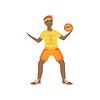 Mann in der gelben Uniform Spielen Basketball