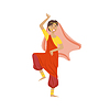 Woman In Veil And Wide Trousers Dancing In Hindu   Stock Vector Graphics