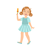 Mädchen, das Halten Eis auf Stick
