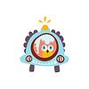 Owl Fahren Auto Mit Blinker Stilisierte Fantastische