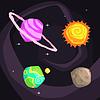 Sonnensystem-Planeten einschließlich Sonne, Erde, Jupiter