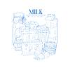 Milch und Milchprodukte Realistische Sketch