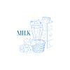 Milch-Karton, Milkshake Und Plätzchen Realistische Sketch