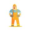 Векторный клипарт: Счастливый строитель на строительной площадке