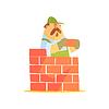 Векторный клипарт: Строитель Укладка кирпича стены на строительной площадке