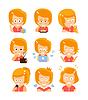 Junges Mädchen roten Kopf Niedlich Porträt Icons