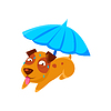 Puppy Schwitzen unter Regenschirm auf Strand