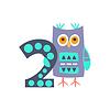 Owl Standing Next To Nummer Zwei Stilisierte Funky