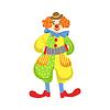 Bunte Freundlich Clown spielen Akkordeon In Classi