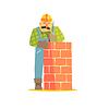 Builder Leveling Brick Wall Auf Baustelle