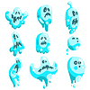 Blaue Geister in Childish Cartoon Manner-Set