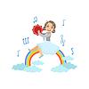 Девушка, играющая бубен с радугой и облаками