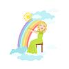 Девочка играет арфа с радугой и облаками украшения
