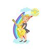 Девочка играет электрогитара с радугой и Облако