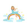Девушка играет флейты с радугой и облаками