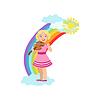 Девочка играет скрипка с радугой и облаками