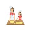 Mutter und Kind gemeinsam die Cookies