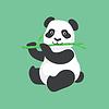 Netter Panda Charakter, der Bambus