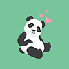 Cute Panda In Love Bamboo