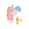 Rosa Einhorn-Holding-Regenschirm Lächeln im Herbst