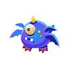 Blau Fantastisch freundliches Haustier-Drachen mit vier Flügeln