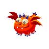 Orange Fantastische freundliches Haustier-Drachen mit vier Flügel