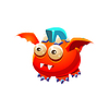 Red Fantastische freundliches Haustier-Drache mit blauen Mohikaner