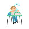 Schüler sitzen hinter Schreibtisch in der Schule Klassen