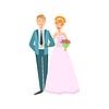 Roter Kopf Braut und Bräutigam frisch verheirateten Paar im Rosa