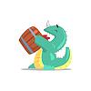Green Dragon-Like Monster Trinken Bier von Fass