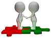 Shaking Hands 3d Characters Shows Partners And | Stock Illustration